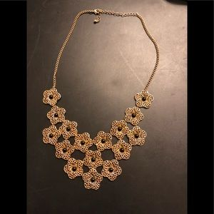 Gold flower statement necklace